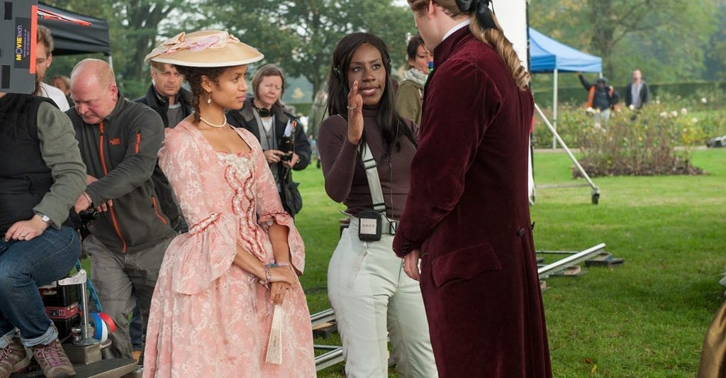 Amma Asante and Gugu Mbatha-Raw on the set of 'Belle'