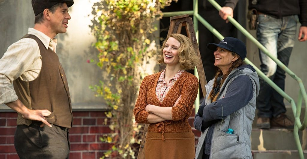 Niki Caro and Jessica Chastain on the set of 'The Zookeeper's Wife'