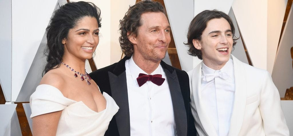 Timothée Chalamet, Matthew McConaughey and Camila Alves at the 90th Academy Awards