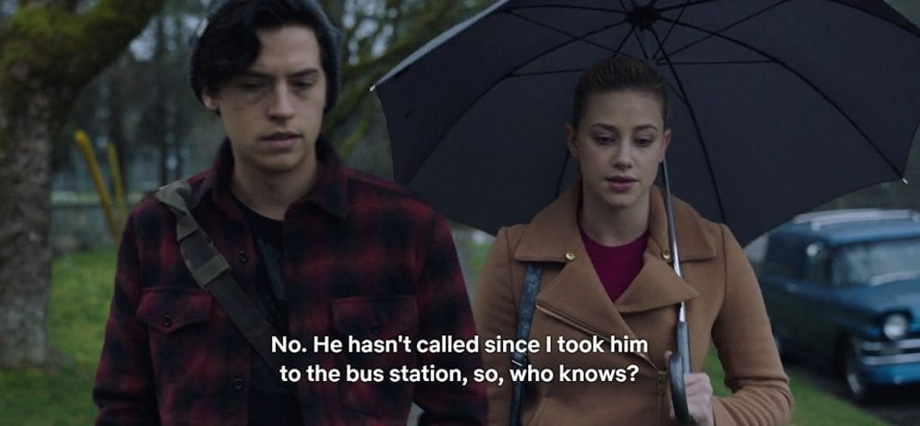 Cole Sprouse and Lili Reinhart in 'Riverdale' S2E20