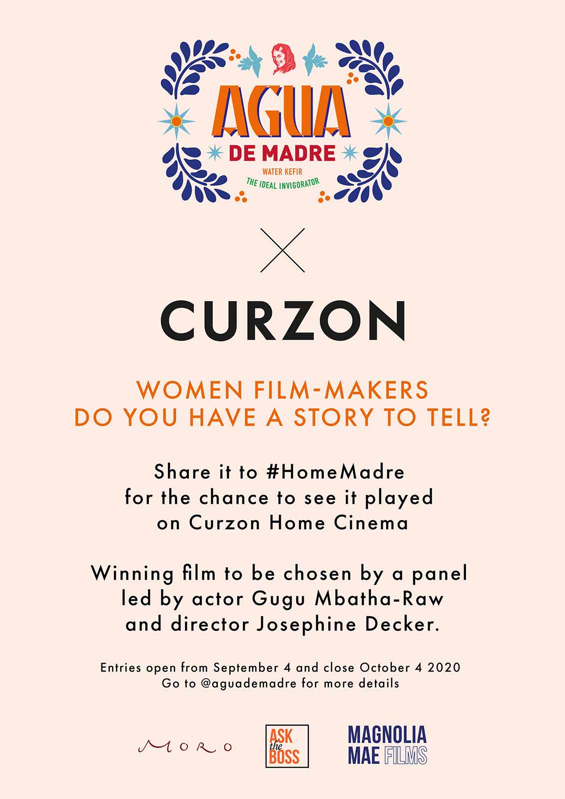 Curzon Cinema and Agua de Madre are coming together to create an initiative supporting British female filmmakers left unemployed by COVID-19.