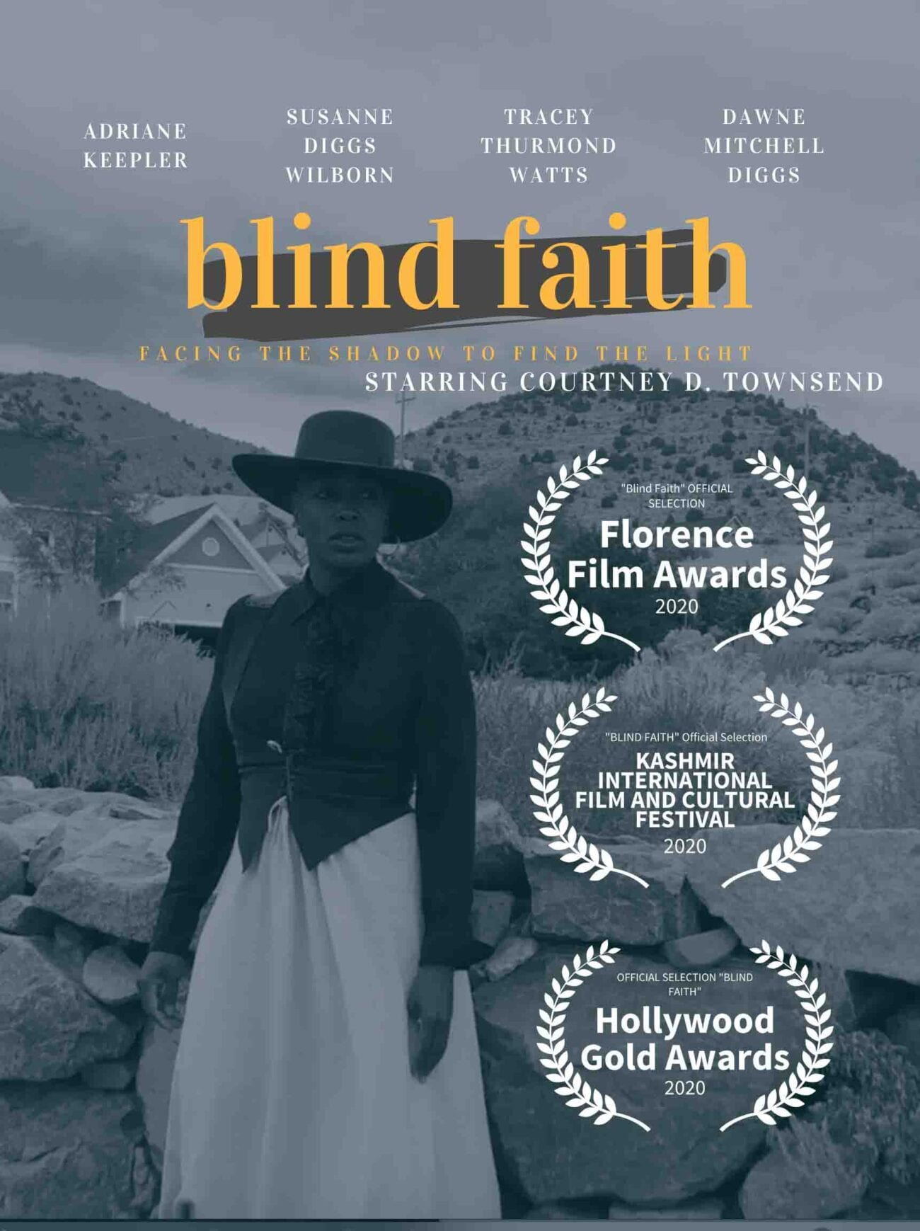 The new short film 'Blind Faith' starring Courtney Townsend is a Western that tells the story of the wives of cowboys.
