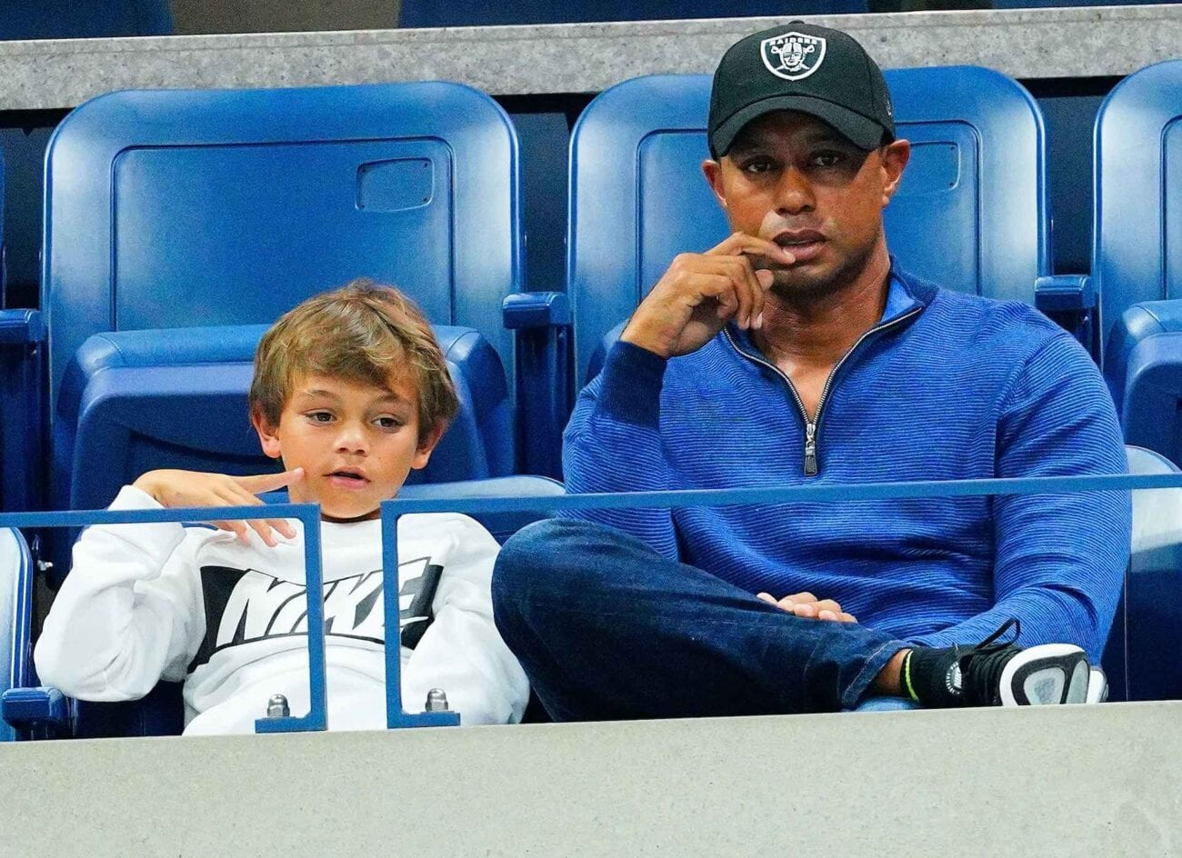 Tiger Woods may soon see his son following in his footsteps. The two are competing in a golf tournament together.