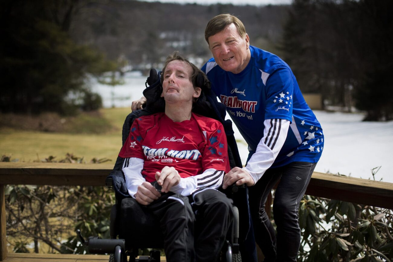 "Dick Hoyt ran thirty-two Boston Marathons pushing his son's wheelchair as part of ""Team Hoyt"". Check out his inspirational story as we celebrate his life!"