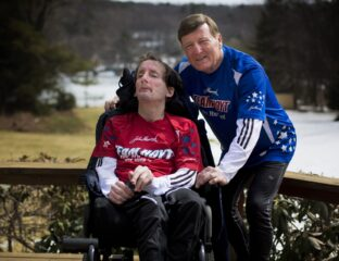 Dick Hoyt ran thirty-two Boston Marathons pushing his son's wheelchair as part of
