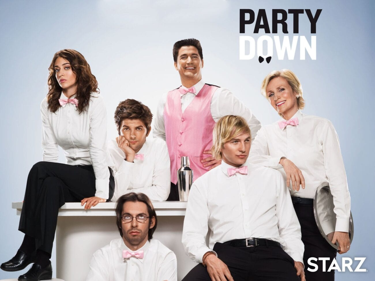 """'Party Down' is back! The revival is officially a """"Ron Donald Do"""" at Starz and the original cast and producers are all coming back. Get your bow tie ready!"""