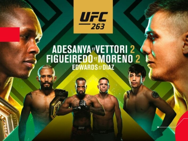 Here's a guide to everything you need to know about UFC 263: Adesanya vs. Vettori 2 including main cards, prelims live stream on Reddit.
