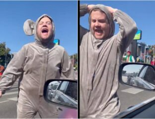 James Corden dressed as a thrusting crotch mouse to promote the new 'Cinderella' movie on 'The Late Late Show'. Twitter shares their horror with the world.
