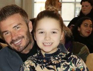 Harper and Her Dad, David Beckham at a fashion show
