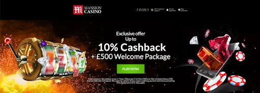 The Mansion Casino homepage.
