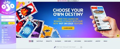 The PlayOJO homepage.