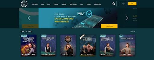 The Grosvenor Casinos homepage.