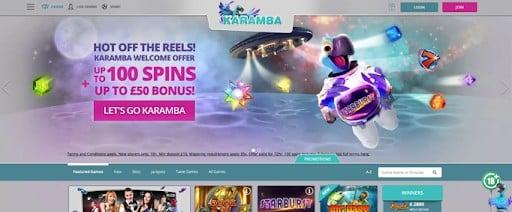 The Karamba homepage.