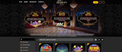 The Grand Ivy homepage.