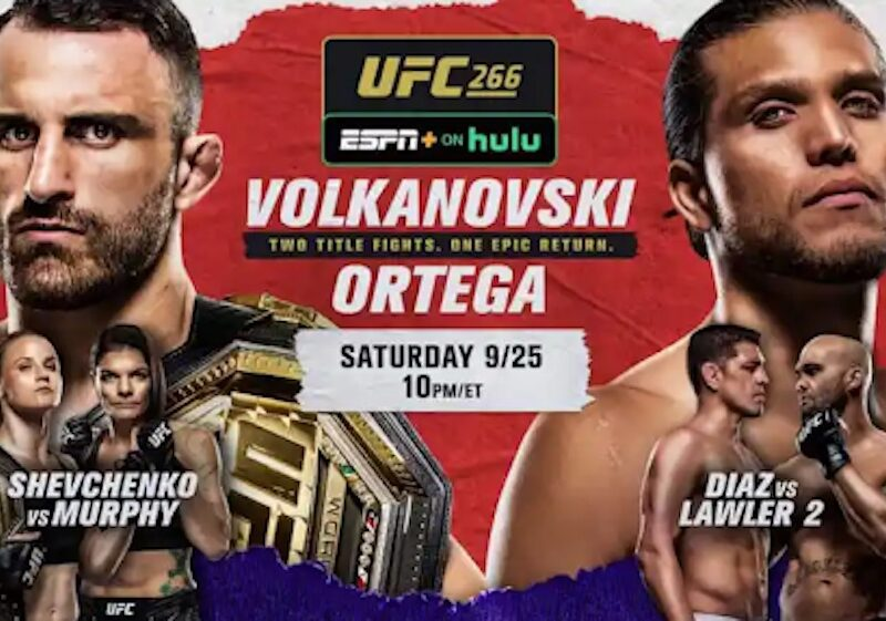 Check all options to listen or watch UFC 266: Volkanovski vs. Ortega live streaming for free on Reddit, Crackstreams or Buffstream & Twitch below.